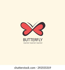 Sweet Butterfly. wings in the shape of hearts. infinity sign Vector icons. flat design set
