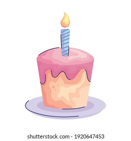 sweet cake with candle birthday acuarela style icon vector illustration design
