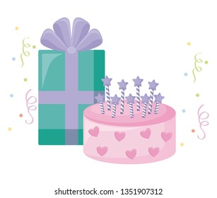 sweet cake with candles and gift box