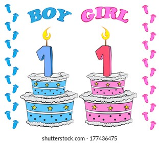 Sweet cake for first birthday, for boy and girl in pink and blue colour,