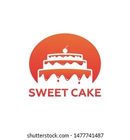 Sweet Cake Logo Template Design Vector, Emblem, Design Concept, Creative Symbol, Icon