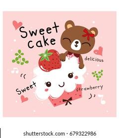 sweet cake strawberry