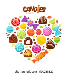 Sweet candies flat icons set. Candies, sweetmeats, lollipops and assorted chocolates colorful lollipops in shape of heart. Sweets and candies icons set in modern flat style. Vector illustration
