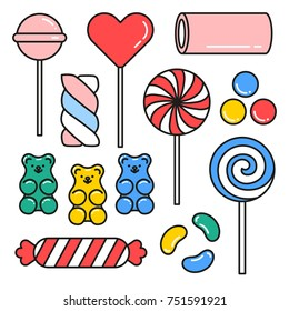 Sweet candies hand drawn icons set with colorful lollipops gummy bears isolated vector illustration