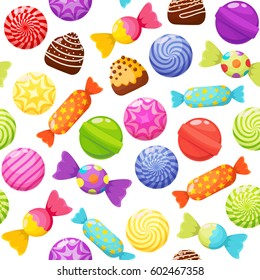 Sweet candies seamless pattern on white background. Candies, sweetmeats, lollipops and assorted chocolates colorful lollipops. Sweets and candies icons set in modern flat style. Vector illustration
