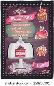 Sweet candy bar handdrawn chalkboard menu design.