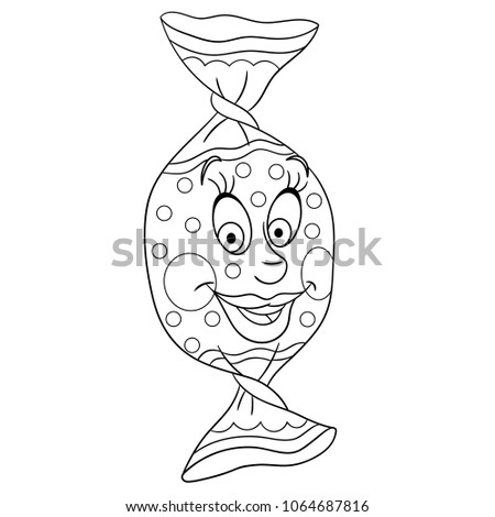 Sweet Candy Coloring Page Happy Pastry Stock Vector Royalty Free