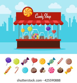 Sweet candy flat composition with different lollipops and sweets. vector illustration
