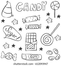 Sweet candy hand draw doodle style