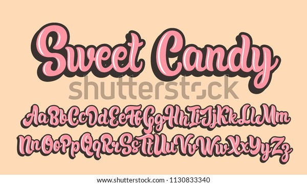 Sweet candy hand drawn lettering alphabet. Vector font.