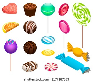 Sweet candy icon set. Isometric set of sweet candy vector icons for web design isolated on white background