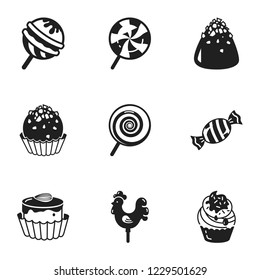 Sweet candy icon set. Simple set of 9 sweet candy vector icons for web design isolated on white background