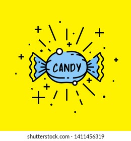 Sweet candy icon. Sugar treat wrapper symbol isolated on yellow background. Vector illustration.