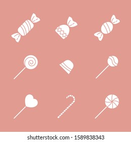 Sweet candy Icons set - Vector solid silhouettes of lollipop, caramel, chocolate and sugar for the site or interface
