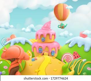Sweet candy land. 3d vector background. Plasticine art illustration