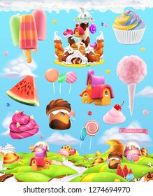 Sweet candy land, cartoon game background. 3d vector set