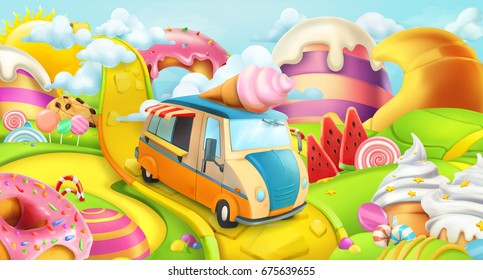 Sweet candy land. Ice cream truck. 3d vector background