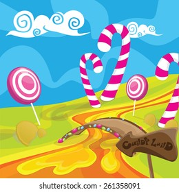 sweet candy land with  lollipops