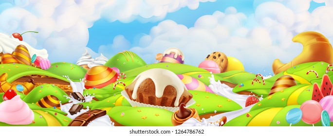 Sweet candy land. Panorama landscape, vector background