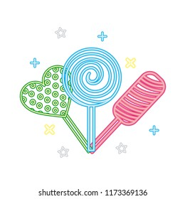 sweet candy lollipops hard confection neon light