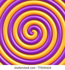 Sweet candy spiral background. Orange and purple lollipop background.