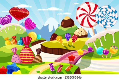 Sweet candy world fairy landscape, panorama. Sweets, candies, caramel. Cartoon game background. Vector illustration, cartoon style for print, create videos or web graphic design, game user interface