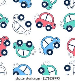 Sweet car pattern illustration vector.