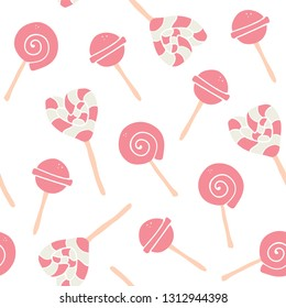 Sweet cartoon colorful candies seamless pattern. Top View Doughnuts collection for menu design, cafe decoration, delivery box, tshirt, fabric, textile. vector illustration in flat style - Vector