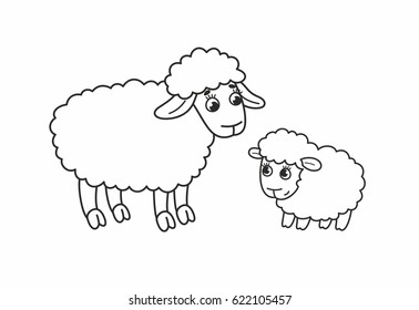 Sweet cartoon mother sheep with cute lamb. Outline