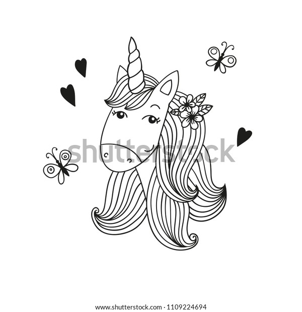 Sweet Cartoon Unicorn Head Coloring Page Stock Vector Royalty Free 1109224694