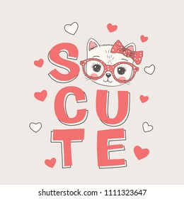 Sweet cat girl face with glasses, bow. So Cute slogan. Hand drawn vector illustration