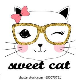 sweet cat illustration vector for girls print design