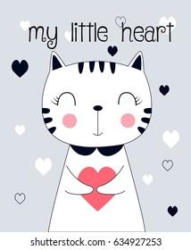 sweet cat illustration vector for print design.