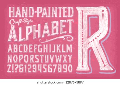A sweet and charming alphabet with a hand-painted effect of white gouache or watercolor on a pink background