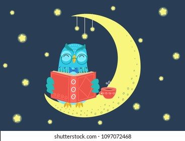 Sweet charming owl reading book at night on the moon under starry sky. Storytime vector illustration