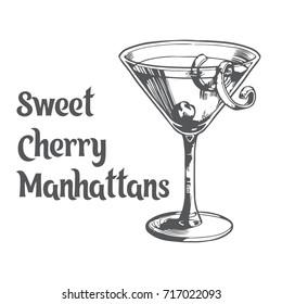 Sweet cherry manhattans cocktail. Vector illustration