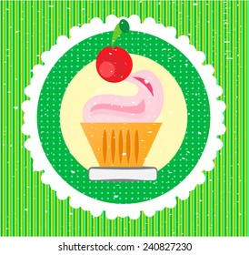 Sweet with cherry on green striped background