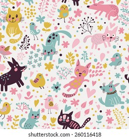 Sweet childish seamless pattern with birds, cats and funny dogs in vector. Seamless pattern can be used for wallpapers, pattern fills, web backgrounds,surface textures. Lovely childish wallpaper