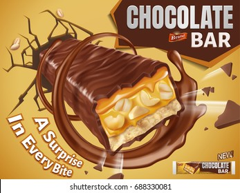 Chocolate bar ads, sweet chocolate bar with nuts and caramel fillings break out from wall in 3d illustration