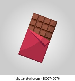 Sweet chocolate bar In red wrap.  Flat vector illustration.