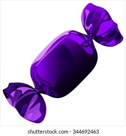 sweet chocolate candy with the wrapper on white background vector