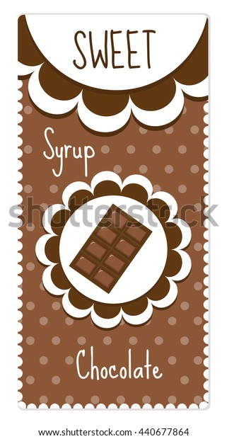 Sweet chocolate labels for drinks, syrup. Vector illustration