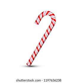 Sweet Christmas candy cane isolated on white background. Graphic element for greeting card on New Year and Christmas. Vector illustration