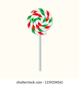 Sweet Christmas candy lollipop with red, green and white strips isolated on white background. Graphic element for greeting card on New Year and Christmas. Vector illustration
