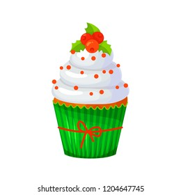 Sweet Christmas and New Year cupcake with berries. Santa hat. Creative element for your design. Vector illustration. Eps 10