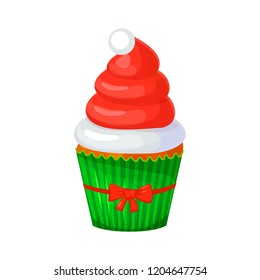 Sweet Christmas and New Year cupcake. Santa hat. Creative element for your design. Vector illustration. Eps 10