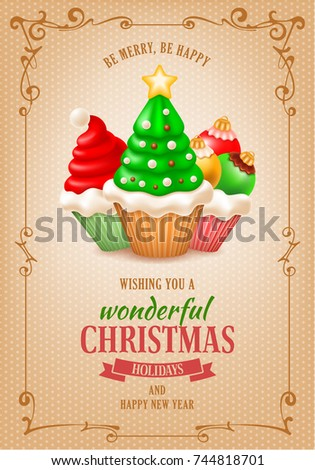 sweet christmas and new year greeting or invitation card template various tasty cupcakes as santa