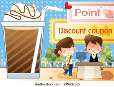 Sweet cold Beverage and Happy Bargain shopping - lovely young girl pay bill using pink point and special coupon to cafe employee on background of bright blue sky and star pattern : vector illustration
