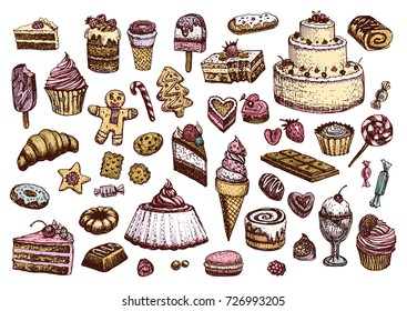 Sweet collection of colored drawings. Illustrations of cakes, pies, biscuits, ice cream, cookies, sweets and other confectionery products. Hand drawn sketch in vintage style.
