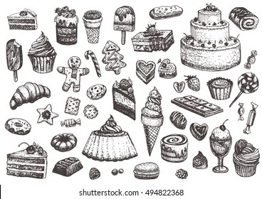 Sweet collection of drawings. Illustrations of cakes, pies, biscuits, ice cream, cookies, sweets and other confectionery products. Hand drawn sketch in vintage style.